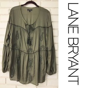 Lane Bryant Olive Green Boho Pheasant Tunic Top